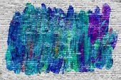 picture of mural  - Abstract graffiti over white brick wall  - JPG