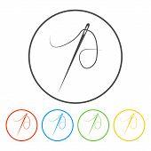 stock photo of eyeleteer  - Needle icon Flat vector illustrator Eps 10 - JPG