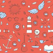pic of peace-pipe  - Vector illustration of sea doodle hipster seamless pattern - JPG