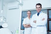 image of male nurses  - Portrait of smiling male and female dentists - JPG