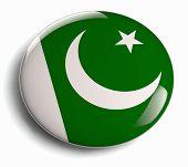 image of pakistani flag  - Pakistan flag design round badge isolated on white - JPG