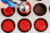 picture of cupcakes  - Baking colored cupcakes on a cupcake shop - JPG