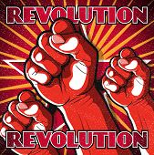 foto of clenched fist  - Great illustration of Russian Propaganda style punching Fist symbolising Revolution - JPG