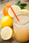 image of cold drink  - Healthy drink with lemon cinnamon ginger and honey to prevent cold - JPG