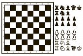 picture of chessboard  - Chessboard or character set of chess pieces - JPG