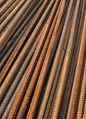 pic of reinforcing  - Stack of the metal rusty reinforcement bars - JPG