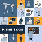 stock photo of physicist  - Scientists character icon set with mathematician explorer chemist physicist avatars isolated vector illustration - JPG