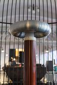 stock photo of transformer  - Resonant transformer in faraday cage. Tesla coil. ** Note: Visible grain at 100%, best at smaller sizes - JPG