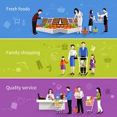 image of supermarket  - People in supermarket flat horizontal banners set with fresh foods family shopping quality service elements isolated vector illustration - JPG