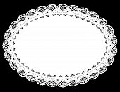 picture of oval  - Vintage oval lace doily place mat with filigree border for setting table - JPG
