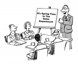 stock photo of going out business sale  - Cartoon of business people in a meeting looking at their leader who is beside a chart stating it is spring time in the sales department - JPG