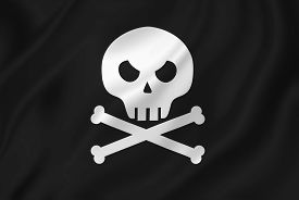 stock photo of skull cross bones  - Pirate skull with crossed bones - JPG