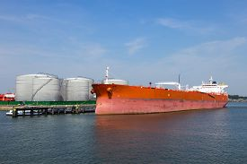 picture of fuel tanker  - A moored oil tanker in the Port of Rotterdam - JPG