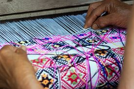 picture of handloom  - Traditional hand weaving by locals in Nan Province Thailand - JPG