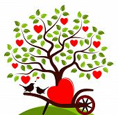 pic of hand-barrow  - vector heart tree and hand barrow with one big heart and couple of birds isolated on white background - JPG