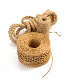 stock photo of cord  - roll of twine cord and thread isolated on white background - JPG