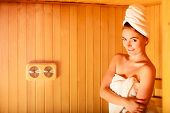 image of sauna  - Spa beauty treatment and relaxation concept - JPG