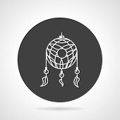 picture of dreamcatcher  - Flat black round vector icon with white line dreamcatcher on gray background - JPG