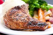 picture of ribs  - grilled pork rib chop with mashed potato and roasted carrot - JPG