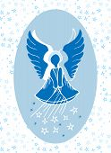 foto of guardian  - Vector illustration of a guardian angel bestowing stars from above - JPG