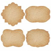 image of recycled paper  - Set of recycled paper labels isolated on white background - JPG