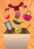 pic of handphone  - Products and merchandise flying out of gift box with vibrant sunburst background - JPG