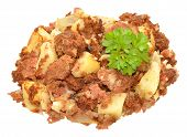 pic of hash  - Homemade corned beef hash meal isolated on a white background - JPG