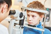 Постер, плакат: Child optometry female optometrist optician doctor examines eyesight of little boy patient in eye o