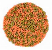stock photo of mung beans  - Mixture of green mung beans and red raw lentil on a white background - JPG