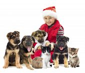 picture of christmas puppy  - a child and a puppy in Christmas costumes - JPG
