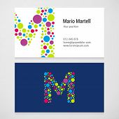 pic of letter m  - Modern letter M circle colorful Business card template - JPG