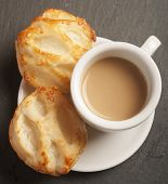 stock photo of bread rolls  - Bread Roll with cottage cheese filling and coffe - JPG