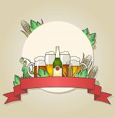 picture of hop-plant  - Illustration of light and dark beer with wheat and hops - JPG