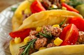 picture of tacos  - Mexican food Tacos in plate - JPG