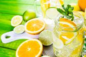 pic of infusion  - Infused water with fresh citrus fruits and ice - JPG