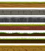 pic of foreground  - Illustration of a set of various seamless grounds soils and land foreground area with blades of grass layers rocks and underground patterns - JPG