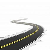 stock photo of long winding road  - The vector illustration of a winding road - JPG