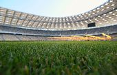 stock photo of football pitch  - young grass in a football stadium - JPG