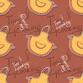 stock photo of apron  - Pattern made from text and hand drawn apron - JPG