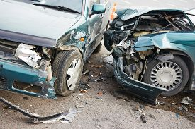 stock photo of slippery-roads  - road incident car crash on a street - JPG