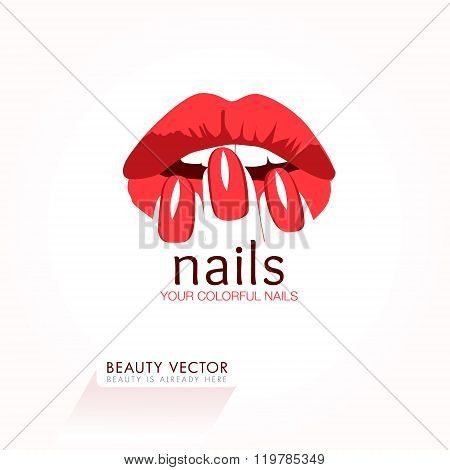 poster of Red Nails and Lips business sign