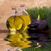 foto of massage therapy  - Relaxing candle and massage oil bottles front of green grass - JPG