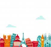 Постер, плакат: Europe travel background