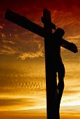 image of passion christ  - Crucifixion of Jesus Christ during sunset - JPG