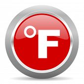 fahrenheit red chrome web circle glossy icon poster