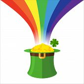 Постер, плакат: Leprechaun Hat And Rainbow Gold In Green Hat Cylinder Mythical Treasures Of Evil Dwarf Illustrati