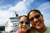 stock photo of cruise ship  - Family on Cruise Ship - JPG