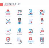 Modern school and education thin line design icons, pictograms poster