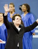 NEW YORK - AUGUST 28: Billie Jean King gestures during the opening ceremony of the US Open at the US