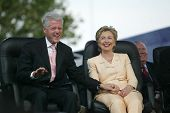 NEW YORK - JUNE 25: Former U.S. President Bill Clinton and wife, U.S. Senator Hillary Clinton (D-NY)